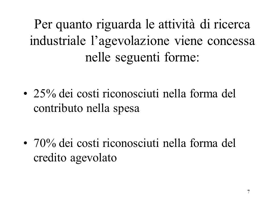 8 Per quanto riguarda le attività di sviluppo precompetitivo lagevolazione viene concessa nelle seguenti forme: 10% dei costi riconosciuti nella forma del contributo nella spesa 70% dei costi riconosciuti nella forma del credito agevolato