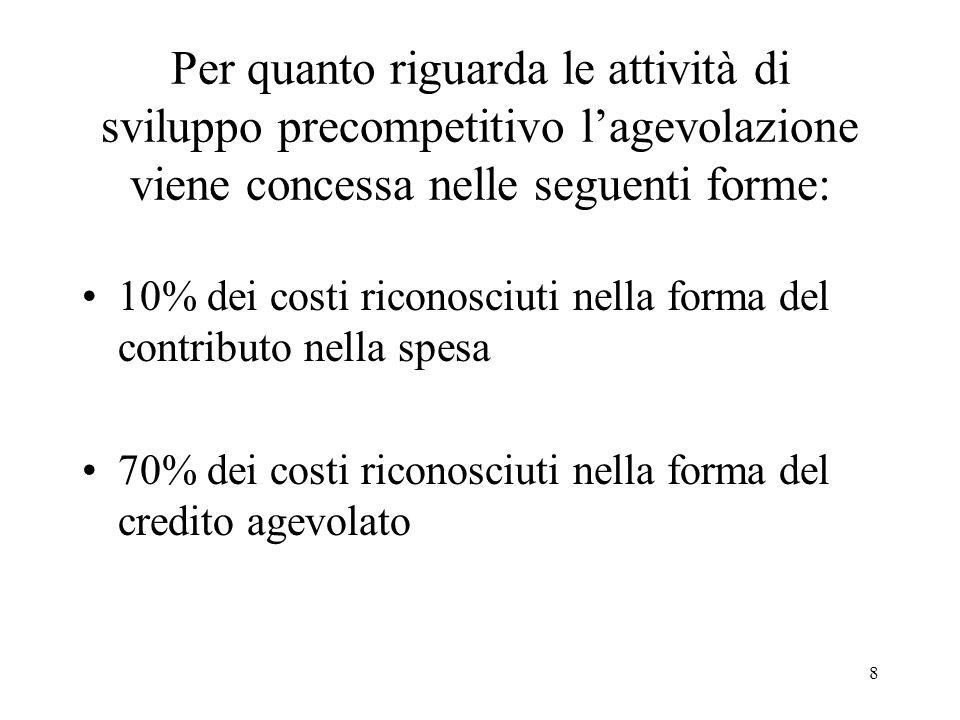 8 Per quanto riguarda le attività di sviluppo precompetitivo lagevolazione viene concessa nelle seguenti forme: 10% dei costi riconosciuti nella forma