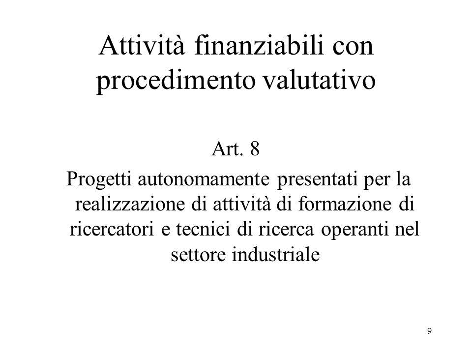 9 Attività finanziabili con procedimento valutativo Art. 8 Progetti autonomamente presentati per la realizzazione di attività di formazione di ricerca