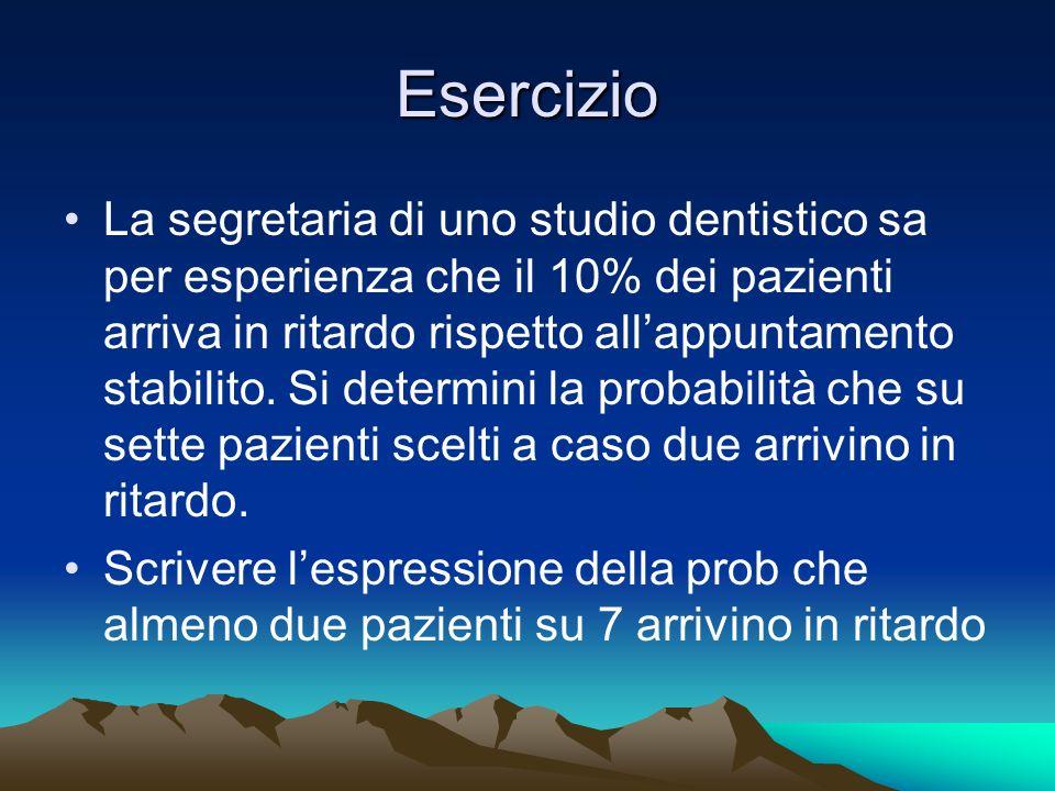 Esercizio La segretaria di uno studio dentistico sa per esperienza che il 10% dei pazienti arriva in ritardo rispetto allappuntamento stabilito. Si de