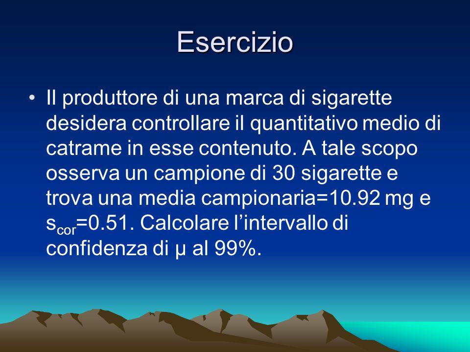 Esercizio Il produttore di una marca di sigarette desidera controllare il quantitativo medio di catrame in esse contenuto. A tale scopo osserva un cam