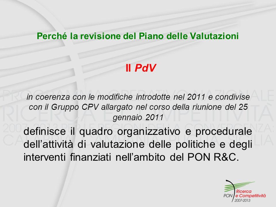 Perché la revisione del Piano delle Valutazioni Il PdV in coerenza con le modifiche introdotte nel 2011 e condivise con il Gruppo CPV allargato nel corso della riunione del 25 gennaio 2011 definisce il quadro organizzativo e procedurale dellattività di valutazione delle politiche e degli interventi finanziati nellambito del PON R&C.