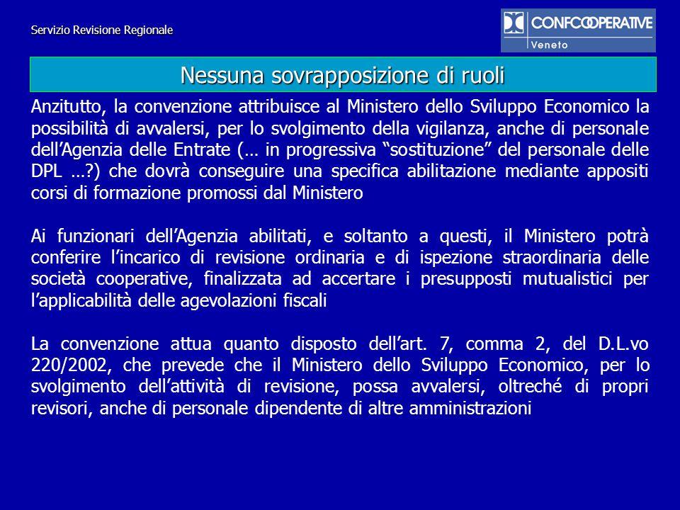 Servizio Revisione Regionale Anzitutto, la convenzione attribuisce al Ministero dello Sviluppo Economico la possibilità di avvalersi, per lo svolgimen