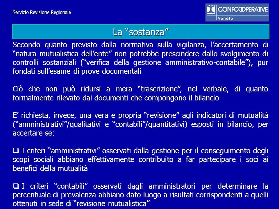 Servizio Revisione Regionale Accertamento della reale consistenza della base sociale: coop.