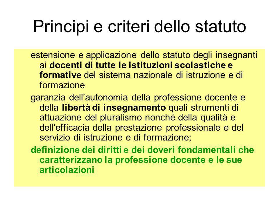 Principi e criteri dello statuto estensione e applicazione dello statuto degli insegnanti ai docenti di tutte le istituzioni scolastiche e formative d