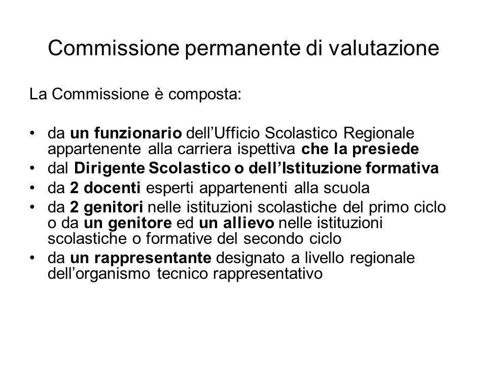 Commissione permanente di valutazione La Commissione è composta: da un funzionario dellUfficio Scolastico Regionale appartenente alla carriera ispetti