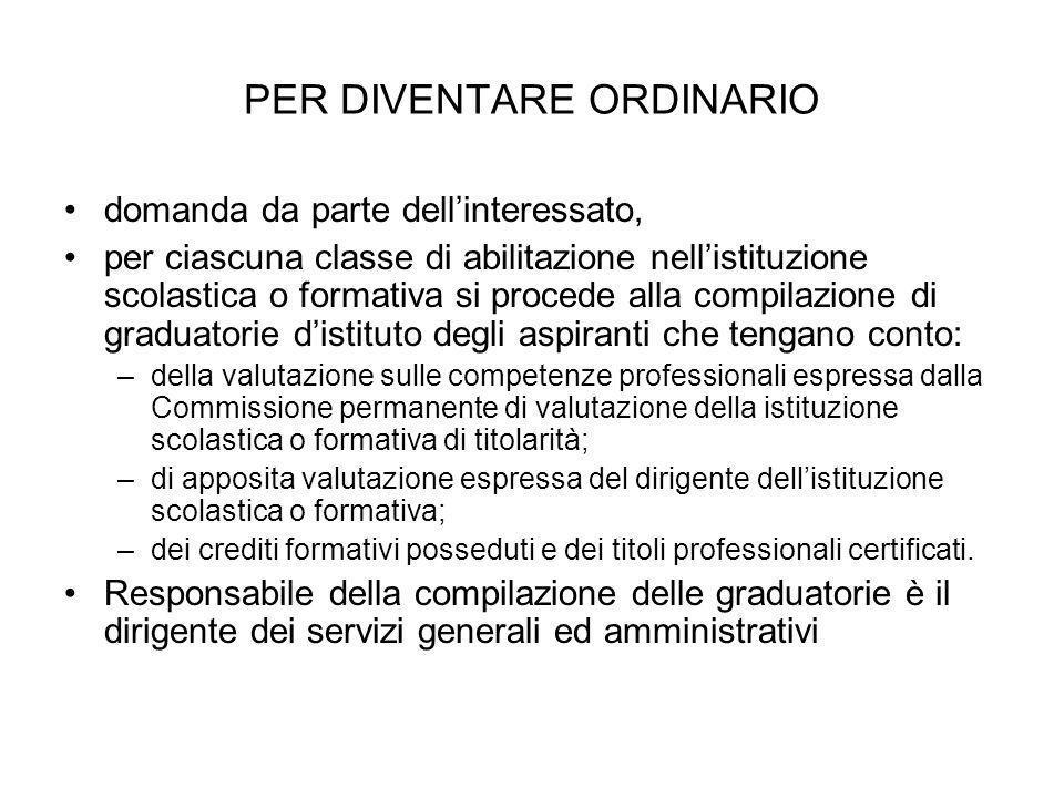 PER DIVENTARE ORDINARIO domanda da parte dellinteressato, per ciascuna classe di abilitazione nellistituzione scolastica o formativa si procede alla c
