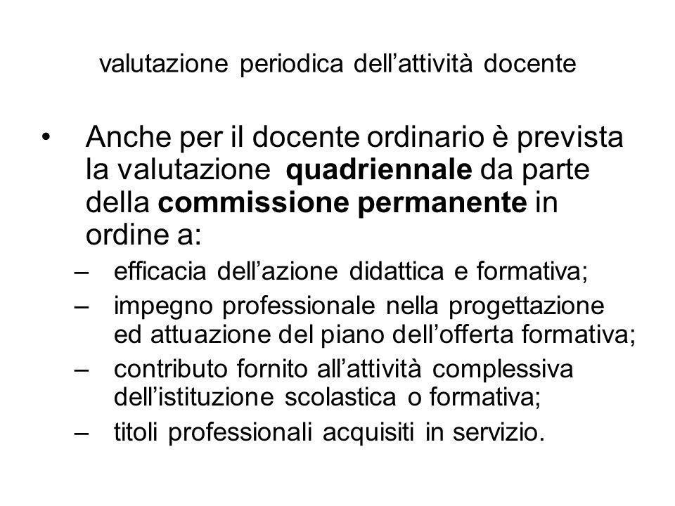 valutazione periodica dellattività docente Anche per il docente ordinario è prevista la valutazione quadriennale da parte della commissione permanente