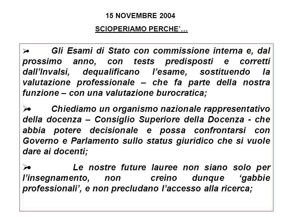 15 NOVEMBRE 2004 SCIOPERIAMO PERCHE… Non vogliamo lassunzione diretta da parte delle scuole, che non rispetta lart.