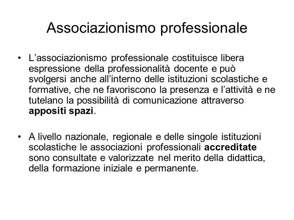 Associazionismo professionale Lassociazionismo professionale costituisce libera espressione della professionalità docente e può svolgersi anche allint