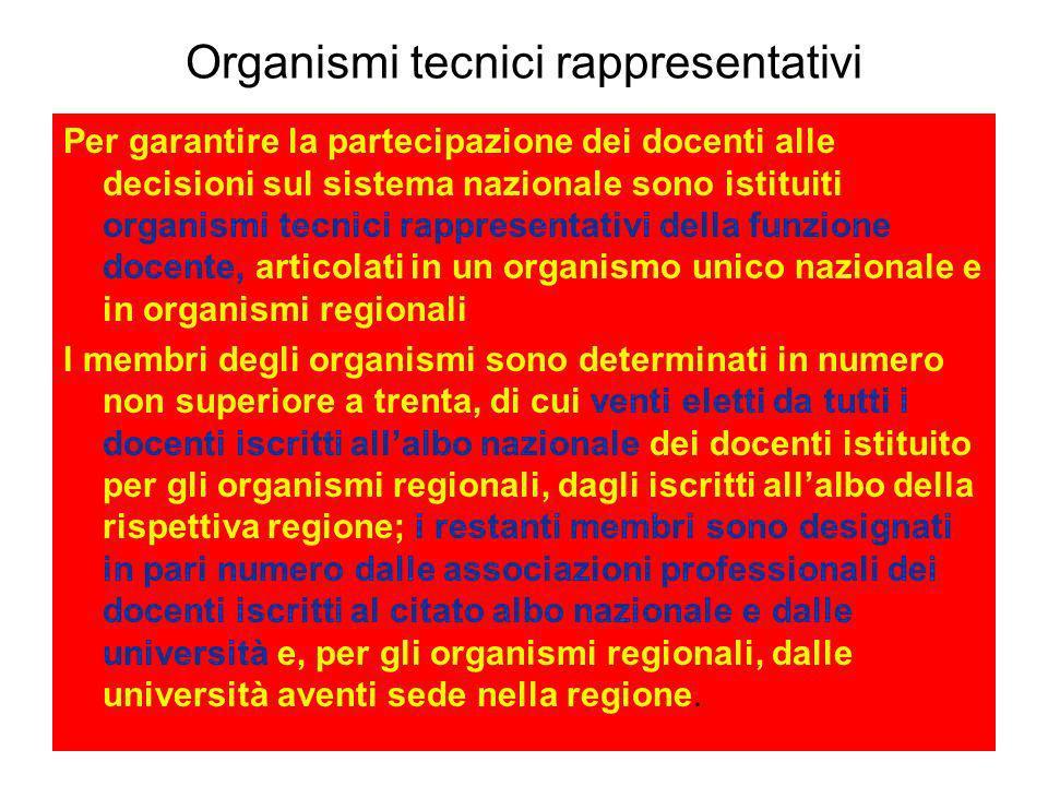 Organismi tecnici rappresentativi Per garantire la partecipazione dei docenti alle decisioni sul sistema nazionale sono istituiti organismi tecnici ra