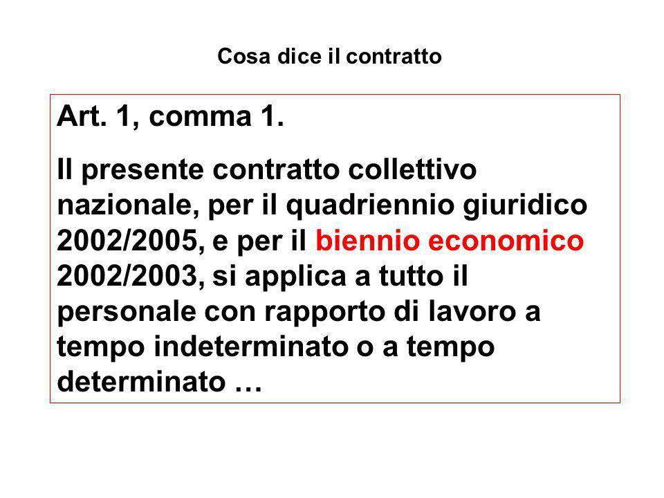 Cosa dice il contratto Art. 1, comma 1. Il presente contratto collettivo nazionale, per il quadriennio giuridico 2002/2005, e per il biennio economico