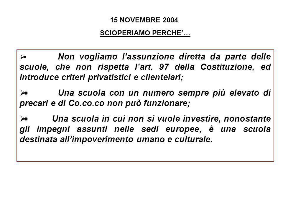 15 NOVEMBRE 2004 SCIOPERIAMO PERCHE… Non vogliamo lassunzione diretta da parte delle scuole, che non rispetta lart. 97 della Costituzione, ed introduc