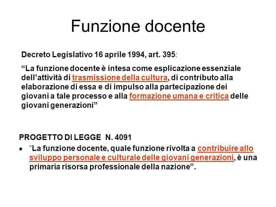 Funzione docente PROGETTO DI LEGGE N. 4091 La funzione docente, quale funzione rivolta a contribuire allo sviluppo personale e culturale delle giovani