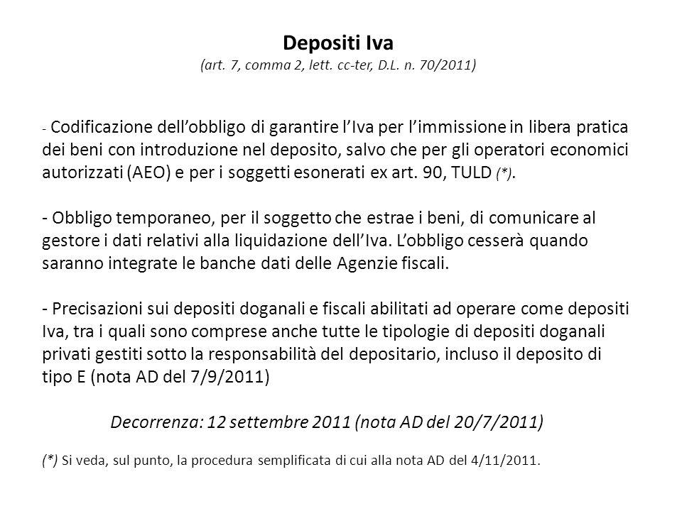Depositi Iva (art. 7, comma 2, lett. cc-ter, D.L.