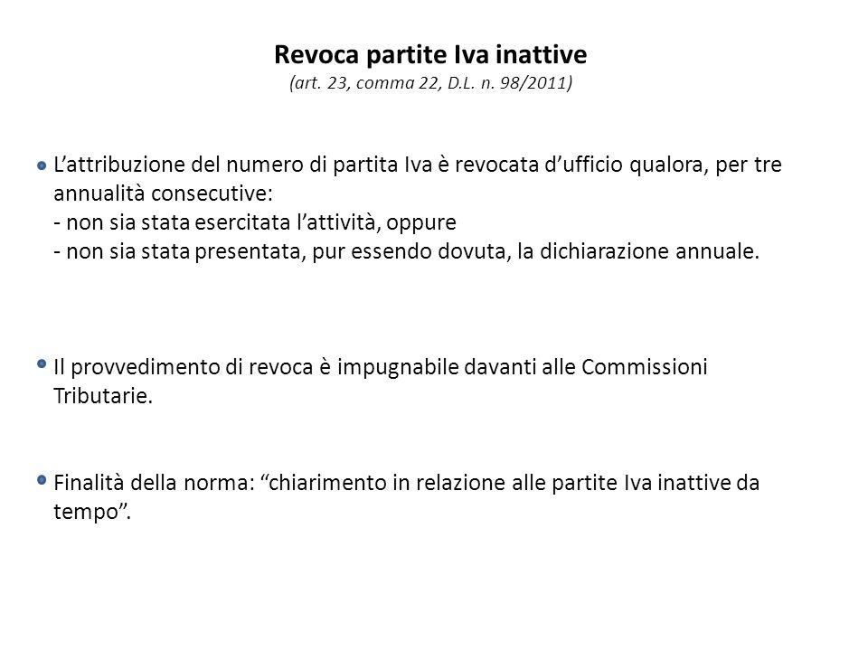 Revoca partite Iva inattive (art. 23, comma 22, D.L.