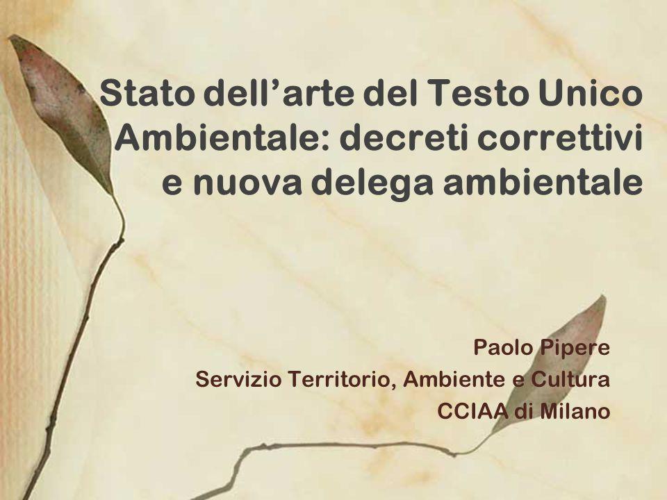Stato dellarte del Testo Unico Ambientale: decreti correttivi e nuova delega ambientale Paolo Pipere Servizio Territorio, Ambiente e Cultura CCIAA di