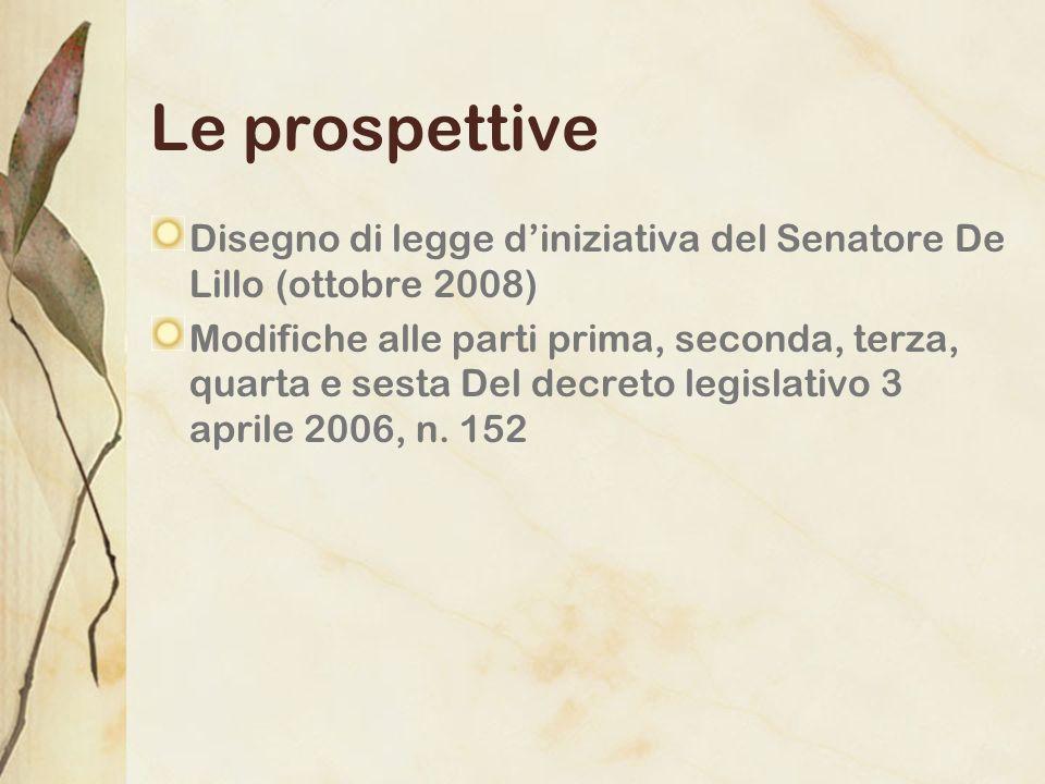 Le prospettive Disegno di legge diniziativa del Senatore De Lillo (ottobre 2008) Modifiche alle parti prima, seconda, terza, quarta e sesta Del decret