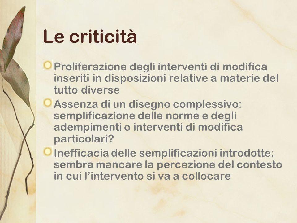 Le criticità Proliferazione degli interventi di modifica inseriti in disposizioni relative a materie del tutto diverse Assenza di un disegno complessi