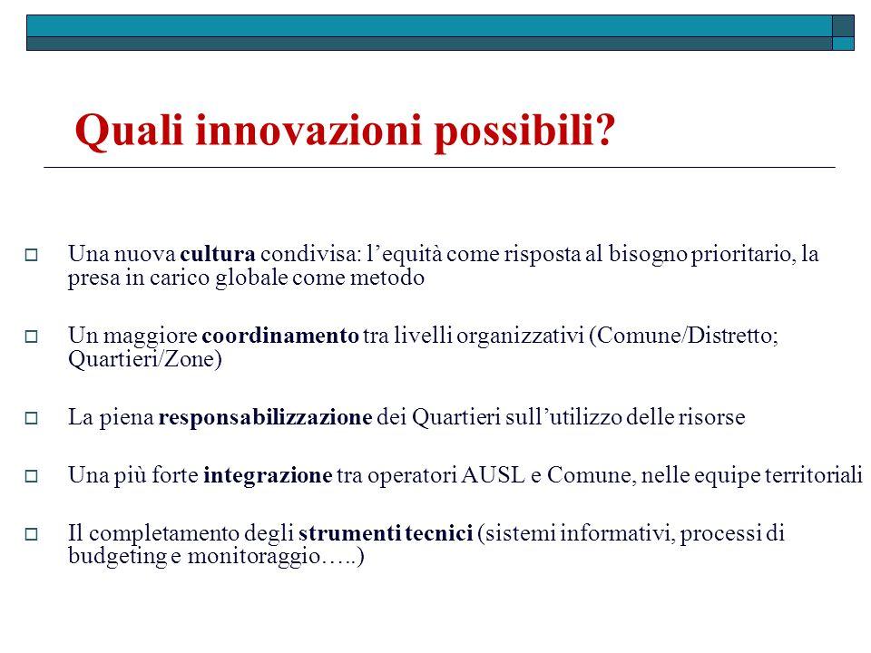 Quali innovazioni possibili? Una nuova cultura condivisa: lequità come risposta al bisogno prioritario, la presa in carico globale come metodo Un magg
