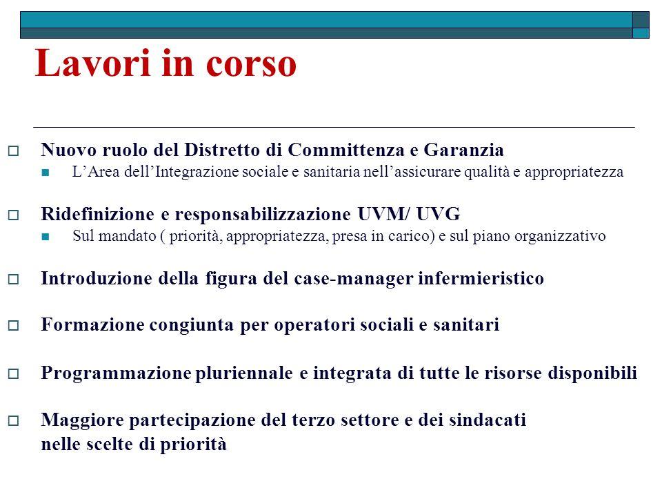 Lavori in corso Nuovo ruolo del Distretto di Committenza e Garanzia LArea dellIntegrazione sociale e sanitaria nellassicurare qualità e appropriatezza