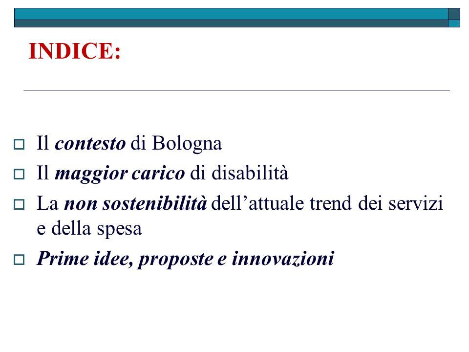 Il contesto di Bologna: Più popolazione anziana La famiglia più ristretta (monoparentale e monocomponente) Immigrazione dovuta alla disponibilità dei servizi Più disabilità