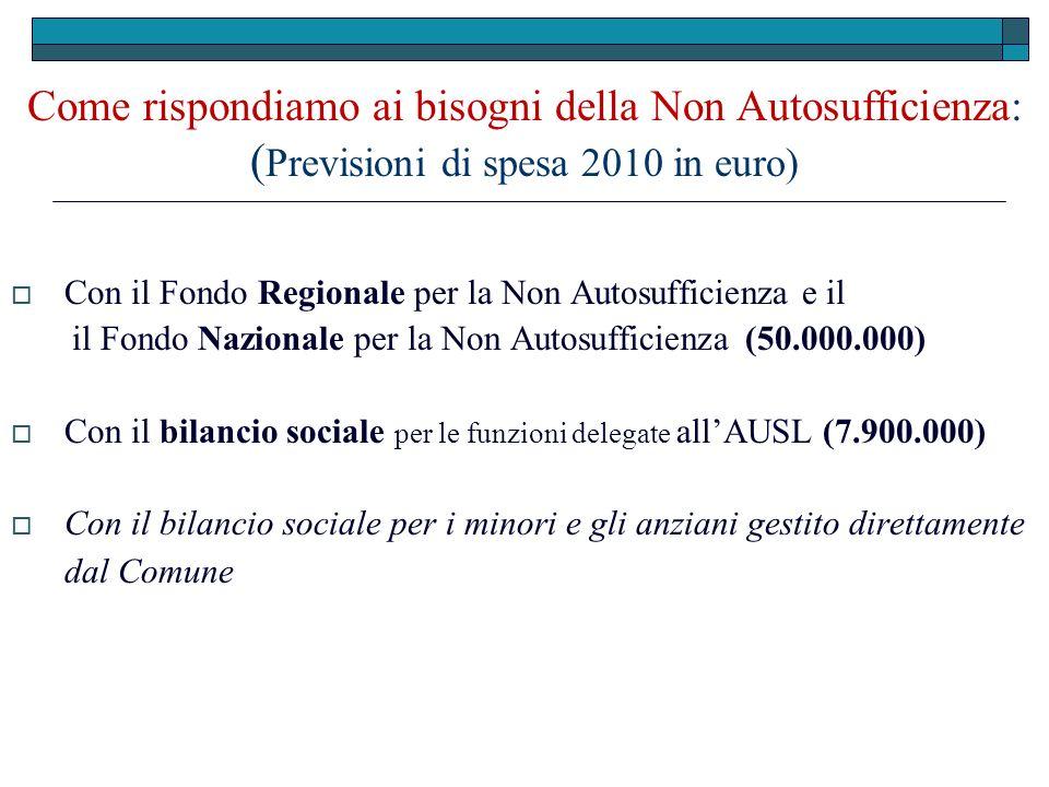 Come rispondiamo ai bisogni della Non Autosufficienza: ( Previsioni di spesa 2010 in euro) Con il Fondo Regionale per la Non Autosufficienza e il il F