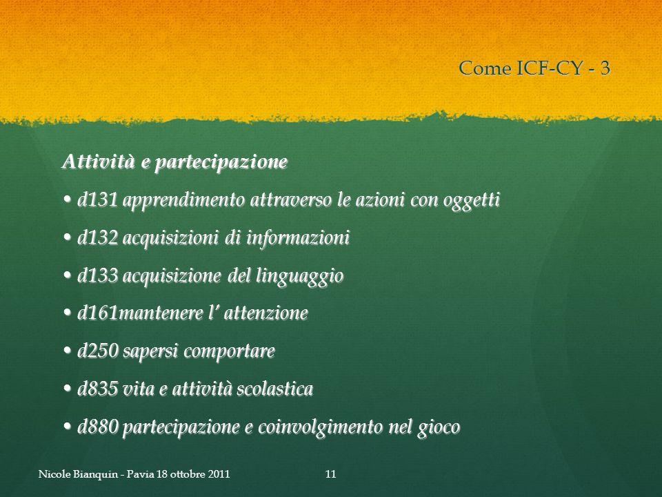 Attività e partecipazione d131 apprendimento attraverso le azioni con oggetti d131 apprendimento attraverso le azioni con oggetti d132 acquisizioni di