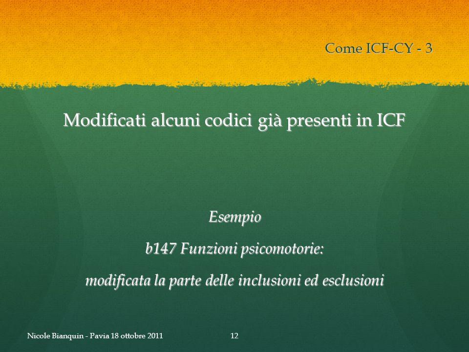 Modificati alcuni codici già presenti in ICF Esempio b147 Funzioni psicomotorie: modificata la parte delle inclusioni ed esclusioni Come ICF-CY - 3 12