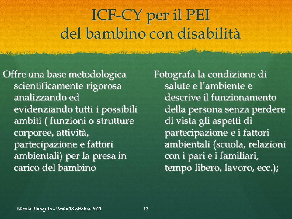 ICF-CY per il PEI del bambino con disabilità Offre una base metodologica scientificamente rigorosa analizzando ed evidenziando tutti i possibili ambit