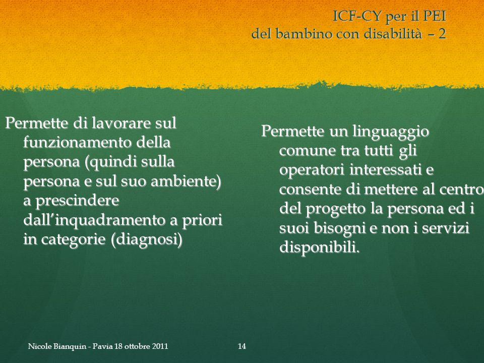 ICF-CY per il PEI del bambino con disabilità – 2 Permette di lavorare sul funzionamento della persona (quindi sulla persona e sul suo ambiente) a pres