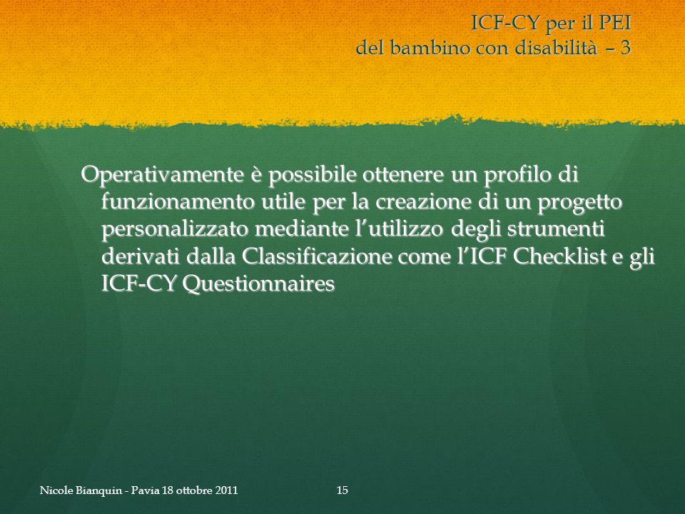 ICF-CY per il PEI del bambino con disabilità – 3 Operativamente è possibile ottenere un profilo di funzionamento utile per la creazione di un progetto