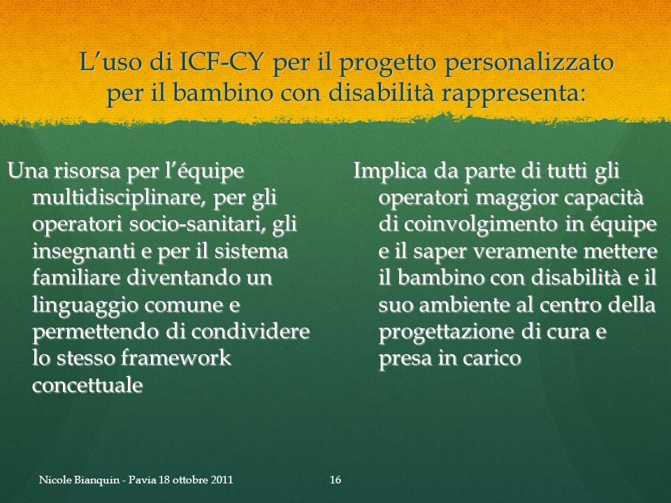 Luso di ICF-CY per il progetto personalizzato per il bambino con disabilità rappresenta: Una risorsa per léquipe multidisciplinare, per gli operatori