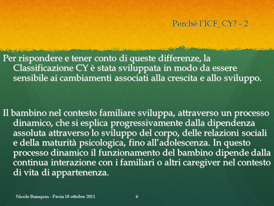 Perché lICF_CY? - 2 Per rispondere e tener conto di queste differenze, la Classificazione CY è stata sviluppata in modo da essere sensibile ai cambiam