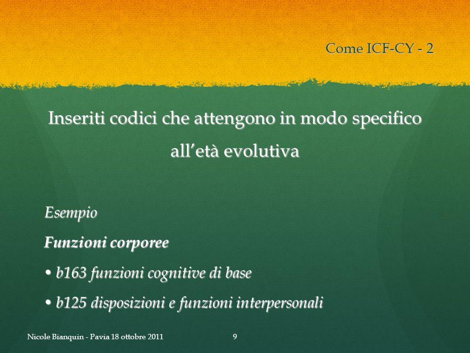 Inseriti codici che attengono in modo specifico alletà evolutiva Esempio Funzioni corporee b163 funzioni cognitive di base b163 funzioni cognitive di