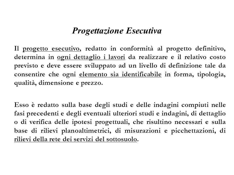 Progettazione Esecutiva Il progetto esecutivo, redatto in conformità al progetto definitivo, determina in ogni dettaglio i lavori da realizzare e il r