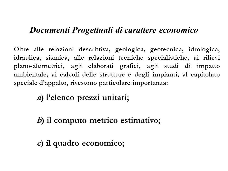 Documenti Progettuali di carattere economico Oltre alle relazioni descrittiva, geologica, geotecnica, idrologica, idraulica, sismica, alle relazioni t