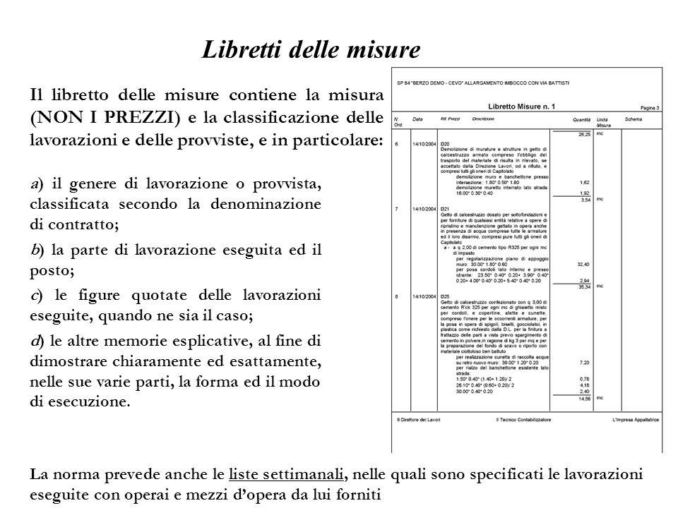 Libretti delle misure Il libretto delle misure contiene la misura (NON I PREZZI) e la classificazione delle lavorazioni e delle provviste, e in partic