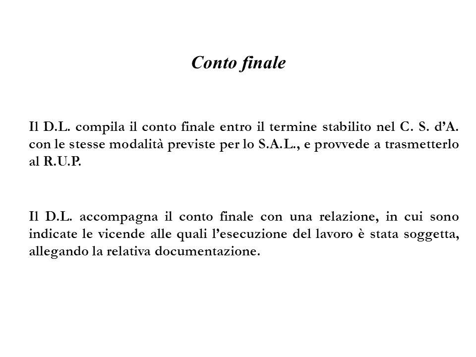 Conto finale Il D.L. compila il conto finale entro il termine stabilito nel C. S. dA. con le stesse modalità previste per lo S.A.L., e provvede a tras
