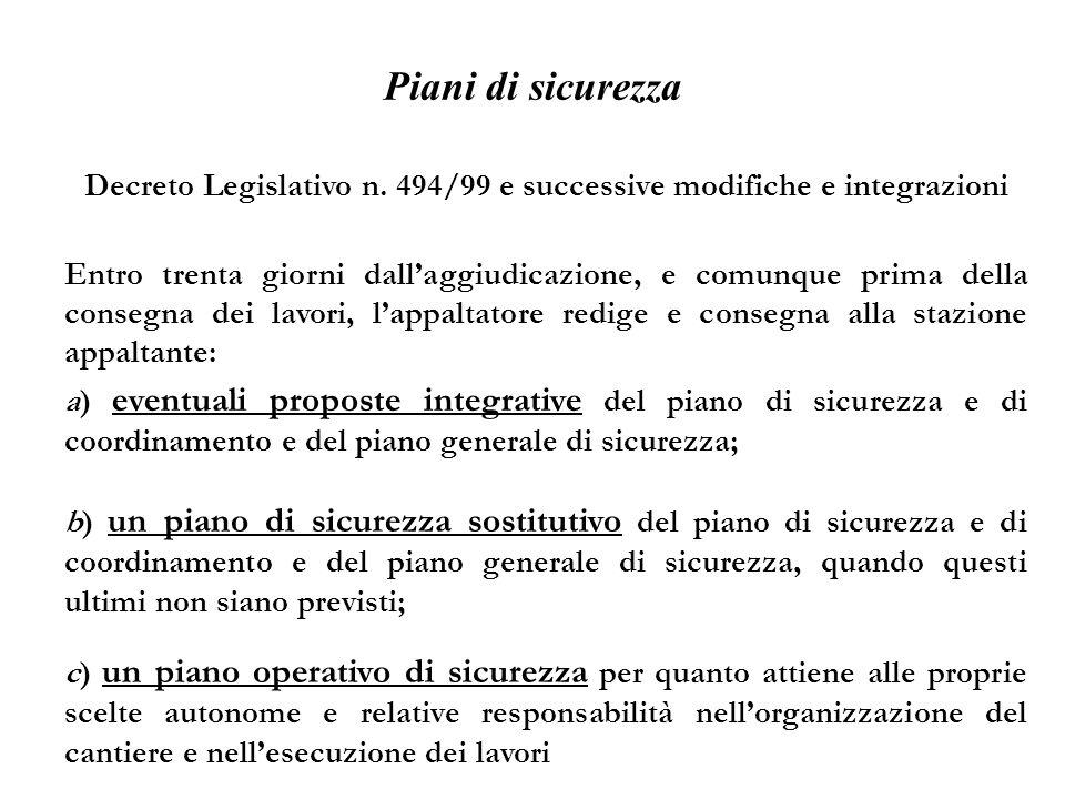 Piani di sicurezza Decreto Legislativo n. 494/99 e successive modifiche e integrazioni a) eventuali proposte integrative del piano di sicurezza e di c