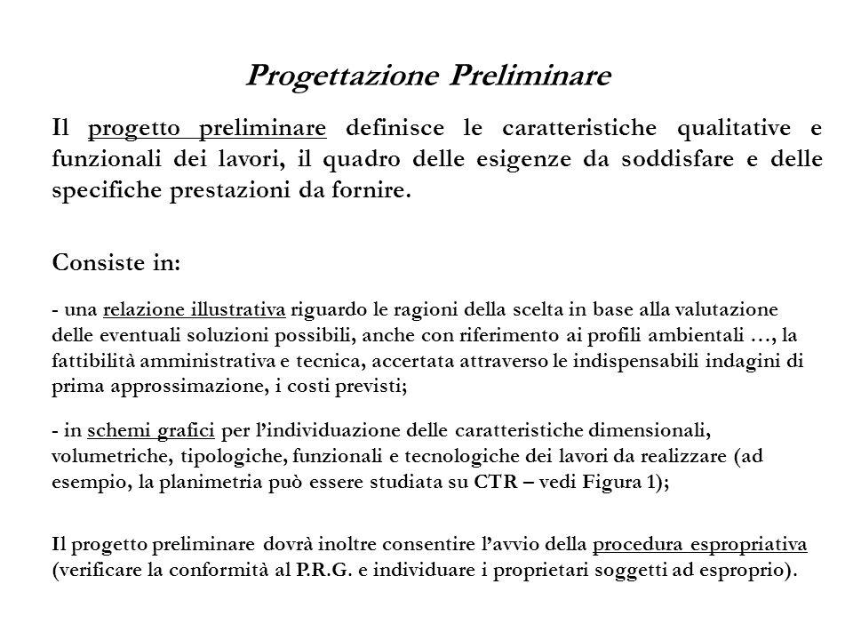 Progettazione Preliminare Il progetto preliminare definisce le caratteristiche qualitative e funzionali dei lavori, il quadro delle esigenze da soddis