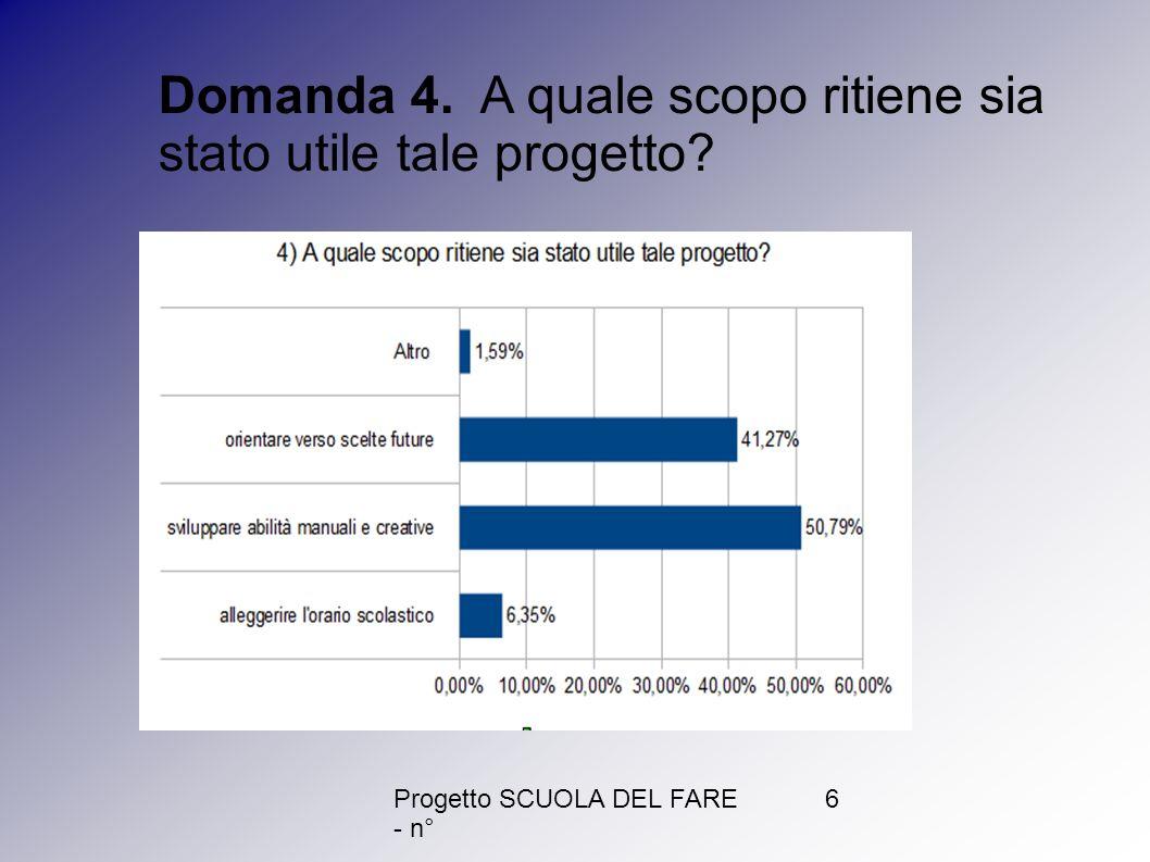 Progetto SCUOLA DEL FARE - n° 6 Domanda 4. A quale scopo ritiene sia stato utile tale progetto?