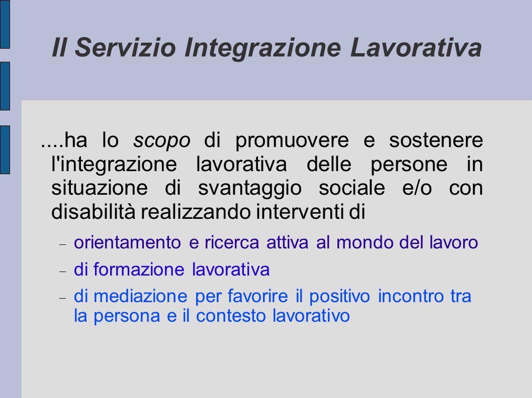 Il Servizio Integrazione Lavorativa....ha lo scopo di promuovere e sostenere l'integrazione lavorativa delle persone in situazione di svantaggio socia