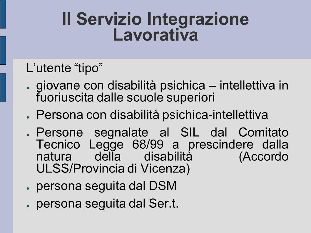 Il Servizio Integrazione Lavorativa Lutente tipo giovane con disabilità psichica – intellettiva in fuoriuscita dalle scuole superiori Persona con disa