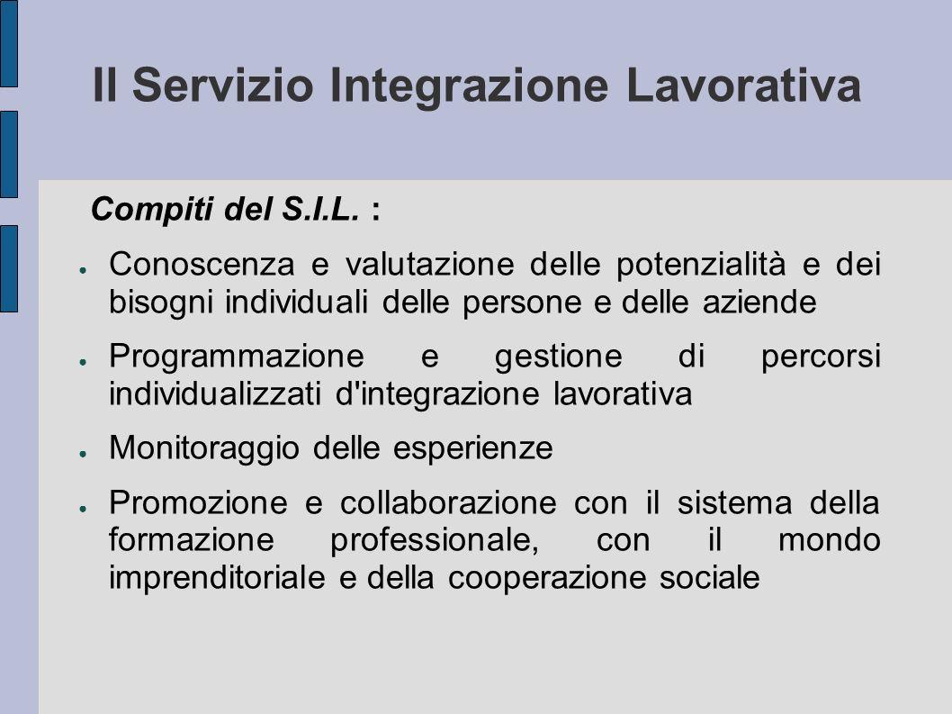 Il Servizio Integrazione Lavorativa Compiti del S.I.L. : Conoscenza e valutazione delle potenzialità e dei bisogni individuali delle persone e delle a