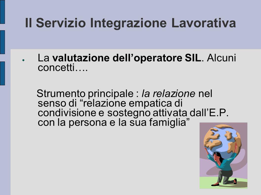 Il Servizio Integrazione Lavorativa La valutazione delloperatore SIL. Alcuni concetti…. Strumento principale : la relazione nel senso di relazione emp