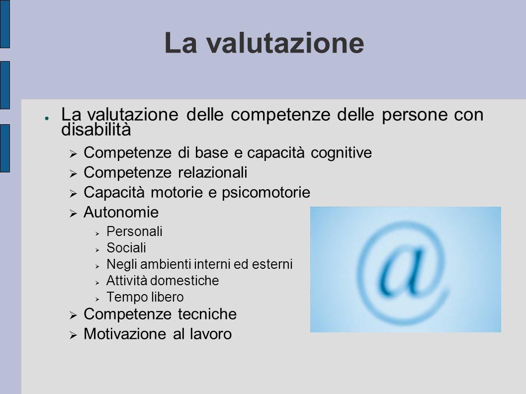 La valutazione La valutazione delle competenze delle persone con disabilità Competenze di base e capacità cognitive Competenze relazionali Capacità mo