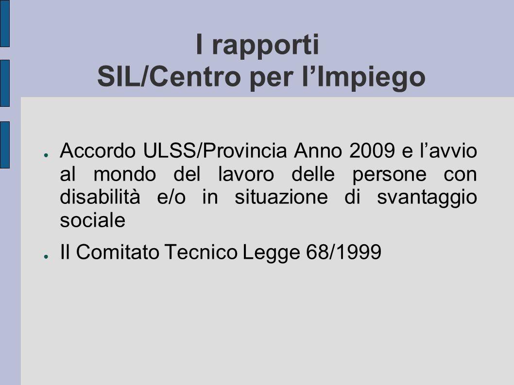 I rapporti SIL/Centro per lImpiego Accordo ULSS/Provincia Anno 2009 e lavvio al mondo del lavoro delle persone con disabilità e/o in situazione di sva