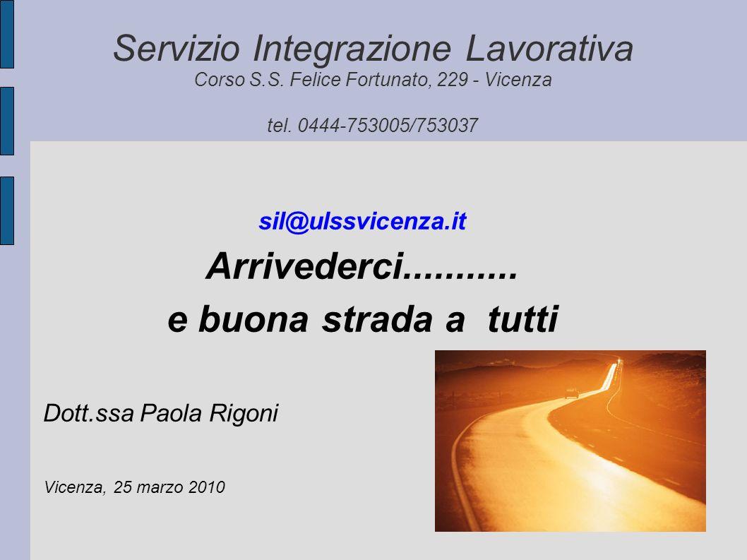 Servizio Integrazione Lavorativa Corso S.S. Felice Fortunato, 229 - Vicenza tel. 0444-753005/753037 sil@ulssvicenza.it Arrivederci........... e buona