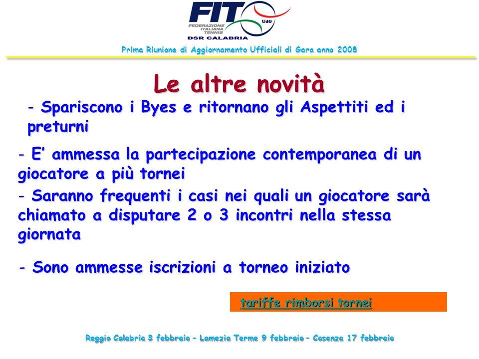Reggio Calabria 3 febbraio – Lamezia Terme 9 febbraio – Cosenza 17 febbraio Prima Riunione di Aggiornamento Ufficiali di Gara anno 2008 Le altre novit